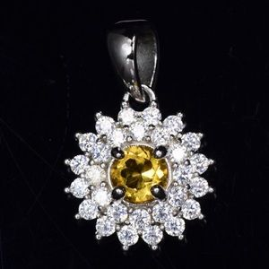 Natural citrine silver pendant with cubic zirconia